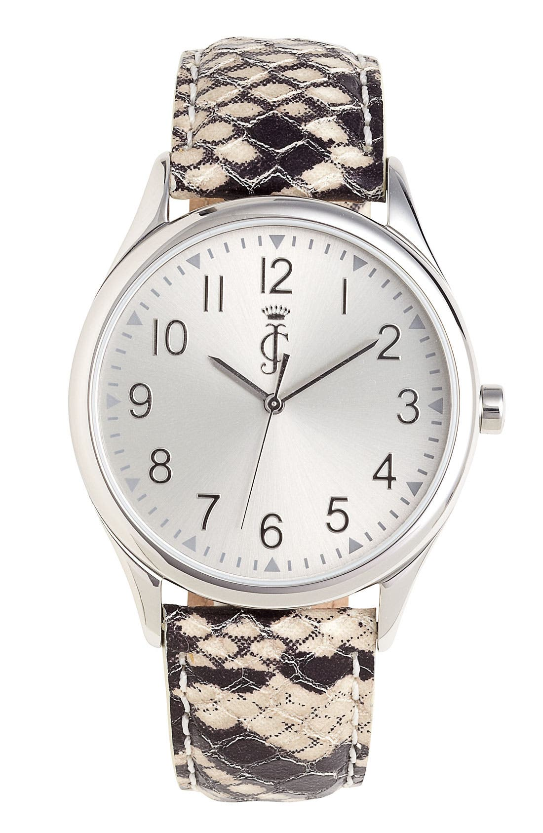 Alternate Image 1 Selected - Juicy Couture Round Leather Strap Watch