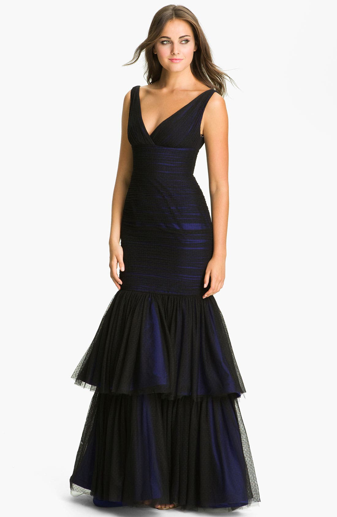 Alternate Image 1 Selected - ML Monique Lhuillier Tiered Mesh Trumpet Gown