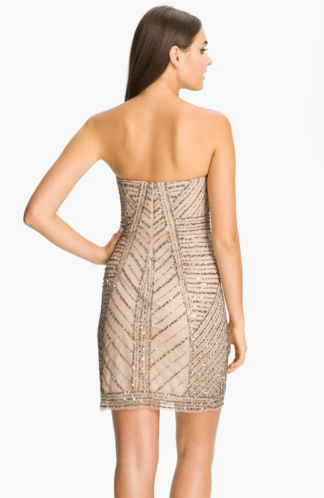 Alternate Image 2  - Adrianna Papell Strapless Embellished Mesh Dress