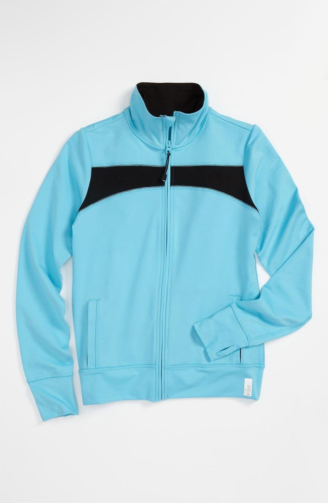 Alternate Image 1 Selected - Zella Girl 'Trainer' Contrast Jacket (Little Girls & Big Girls)
