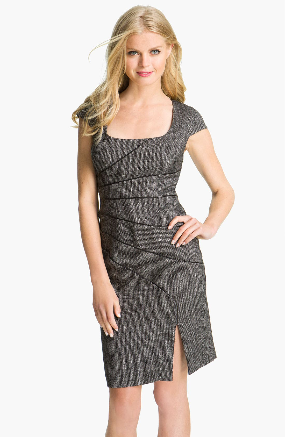 Main Image - Black Halo Piping Detail Tweed Sheath Dress