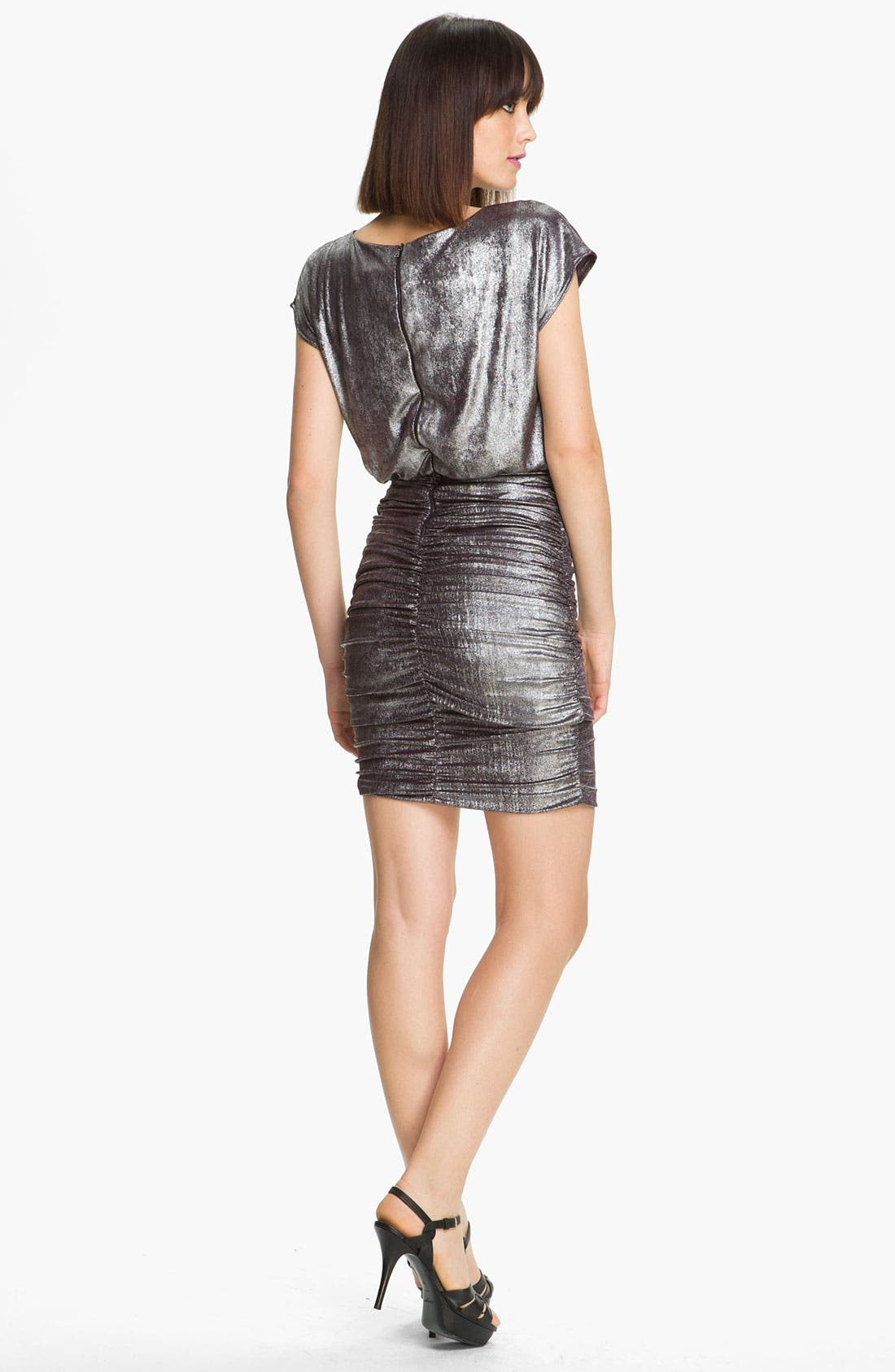 Alternate Image 2  - Alice + Olivia 'Alysha' Metallic Ruched Dress