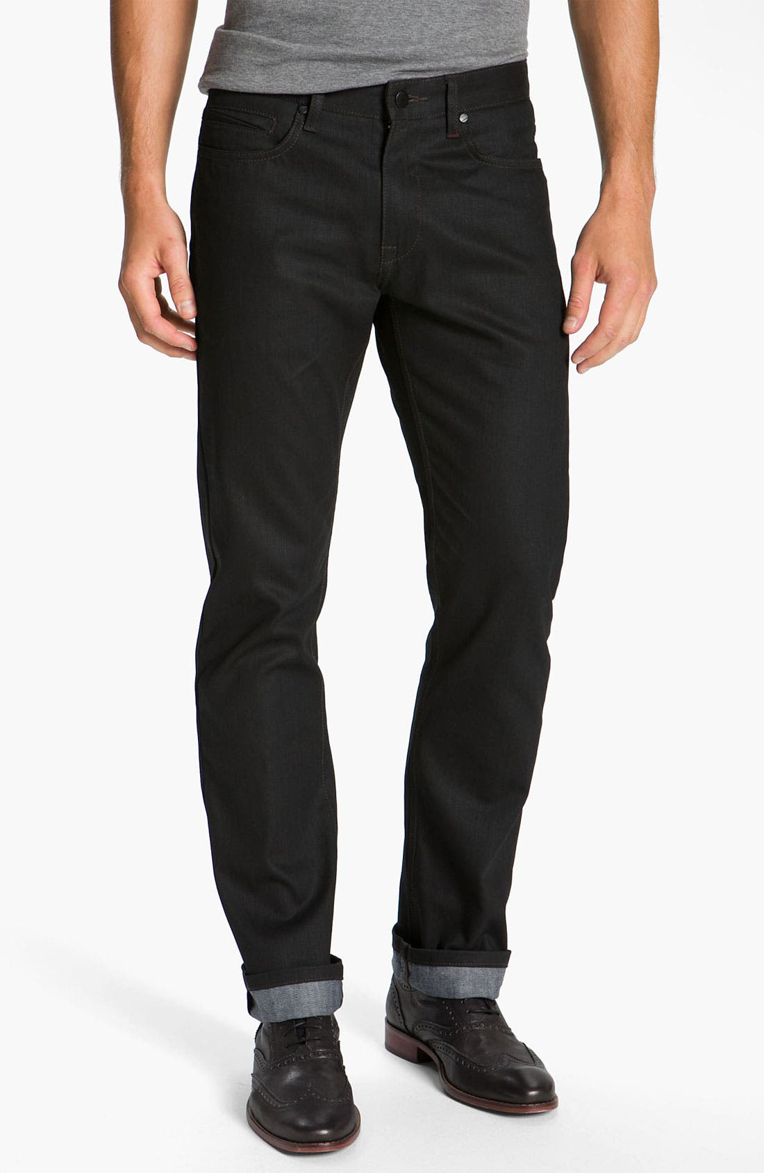 Alternate Image 2  - Comune 'Rudy' Coated Slim Straight Leg Jeans (Black Indigo)