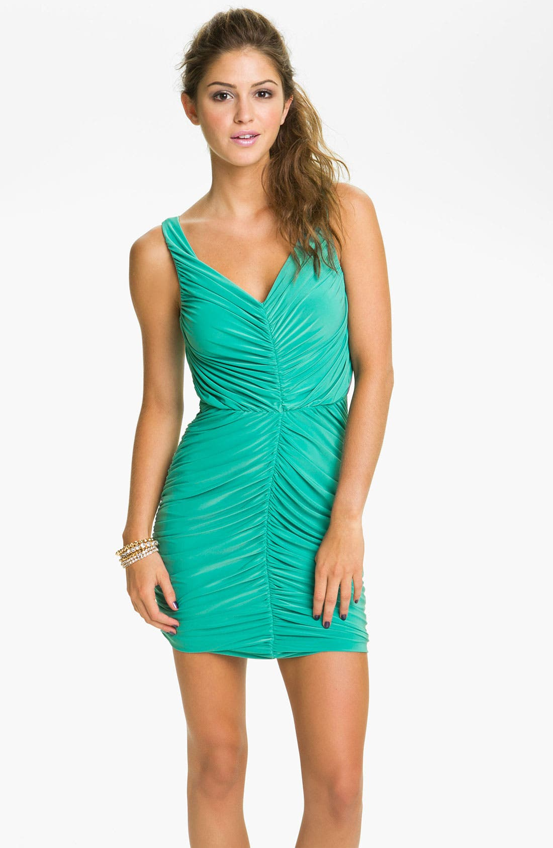 Alternate Image 1 Selected - Soprano Ruched Tank Dress (Juniors)