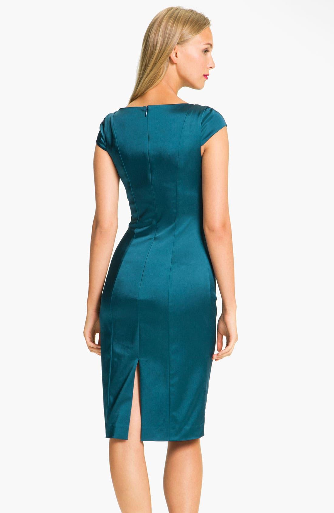 Alternate Image 2  - Black Halo 'Lorraine' Velvet & Satin Sheath Dress