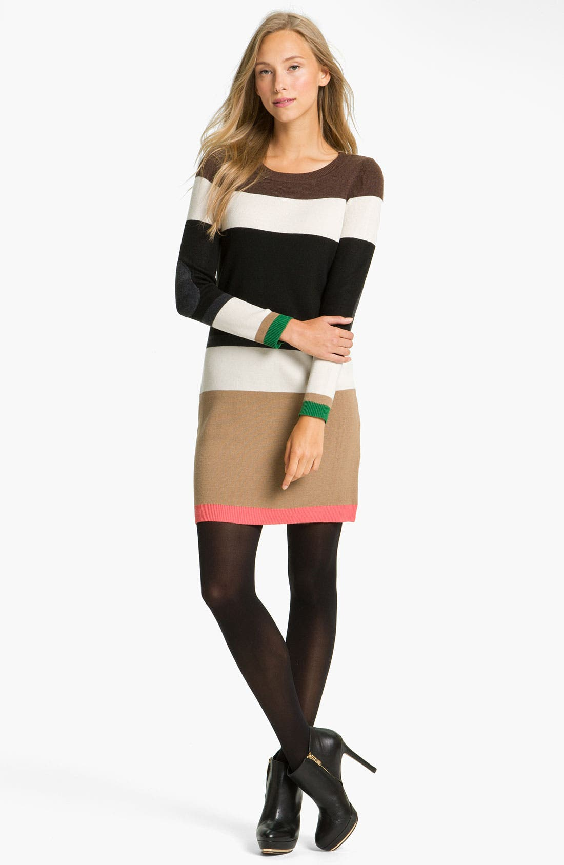 Main Image - Eliza J Colorblock Elbow Patch Sweater Dress