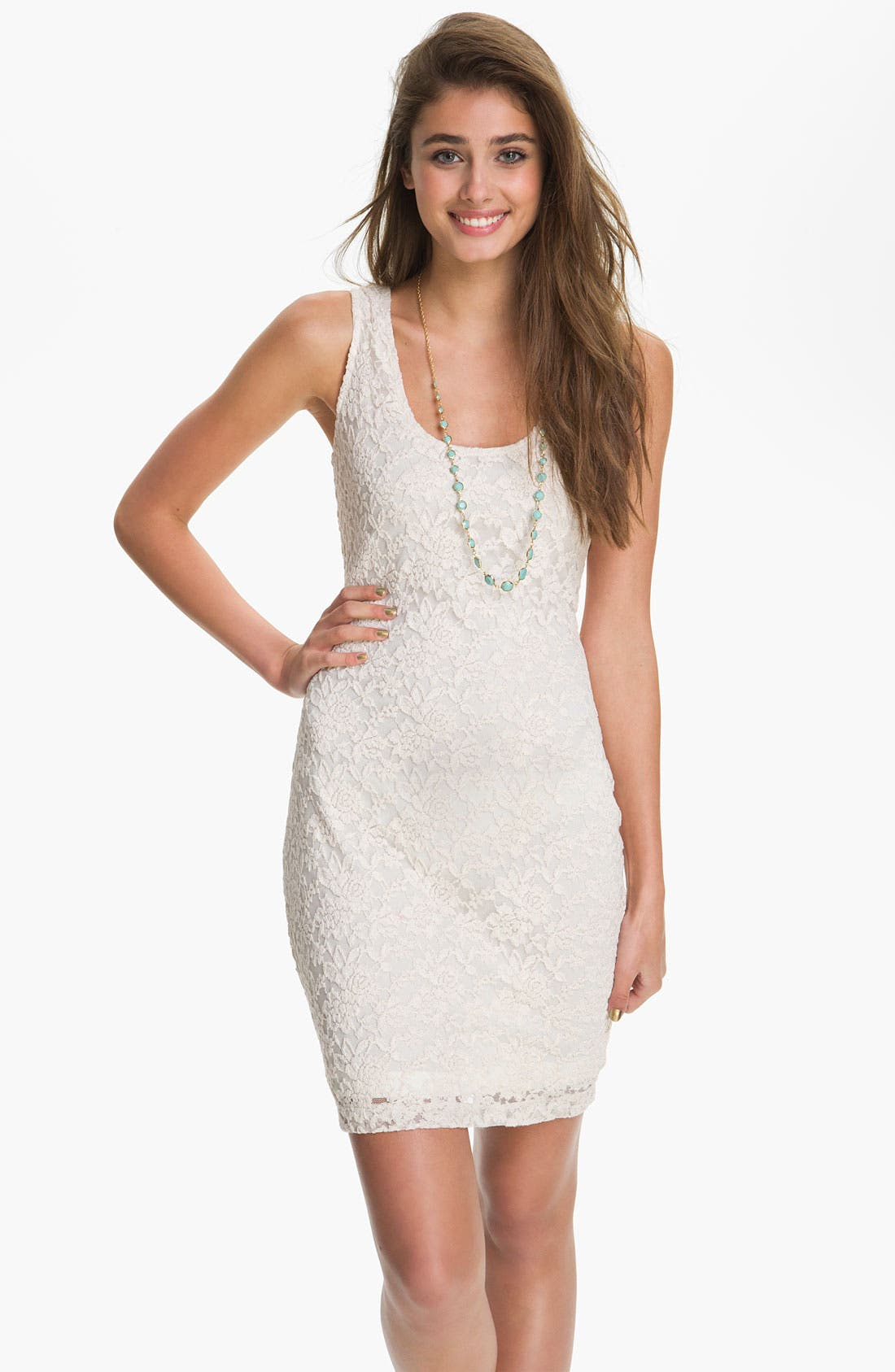 Alternate Image 1 Selected - Fire Lace Tank Dress (Juniors)
