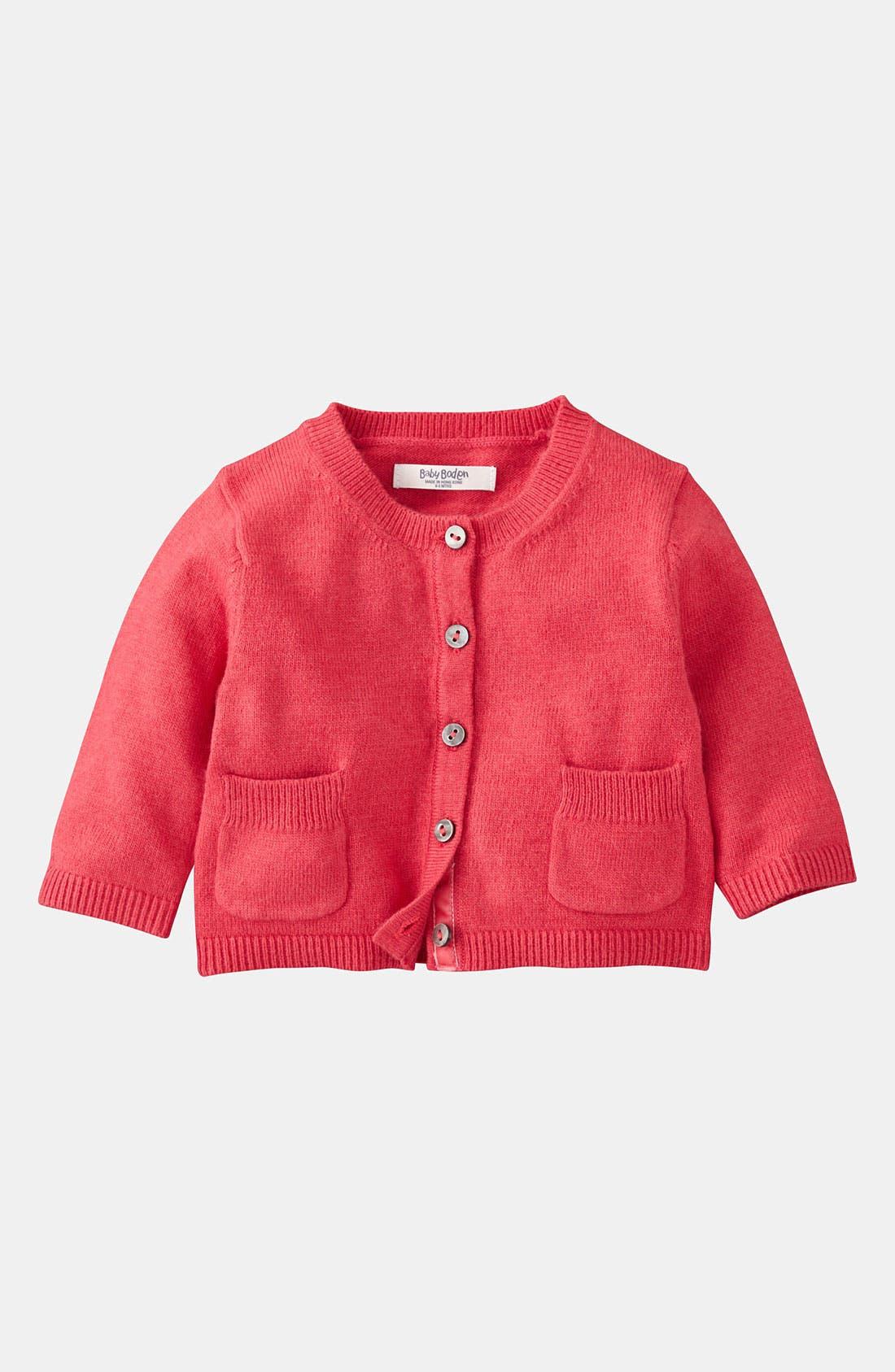Alternate Image 1 Selected - Mini Boden 'Baby' Cardigan (Infant)