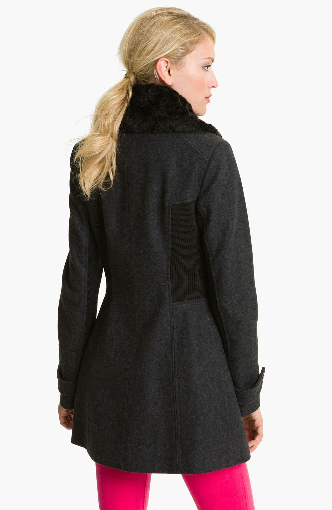 Alternate Image 2  - GUESS Faux Fur & Knit Trim Coat