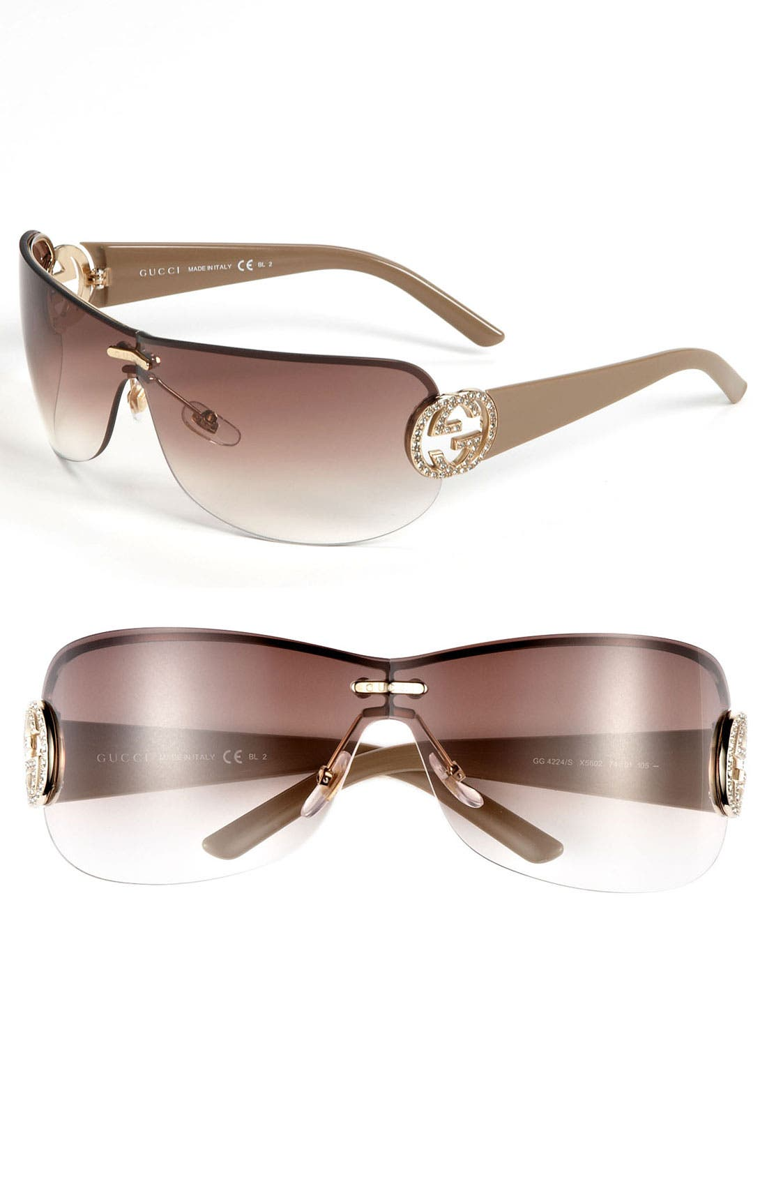 Main Image - Gucci 74mm Swarovski Crystal Rimless Shield Sunglasses