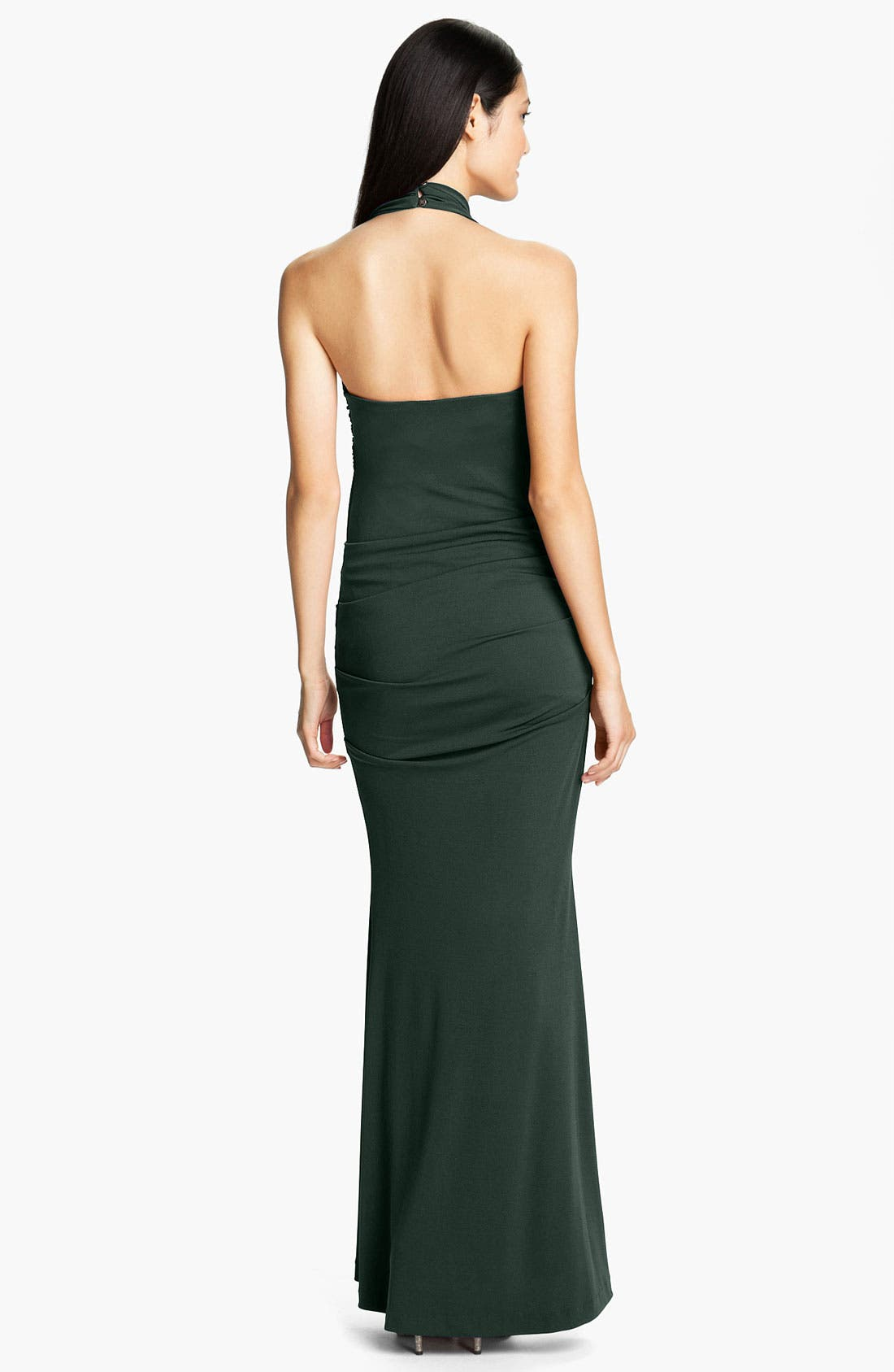 Alternate Image 2  - Nicole Miller Ruched Jersey Trumpet Gown