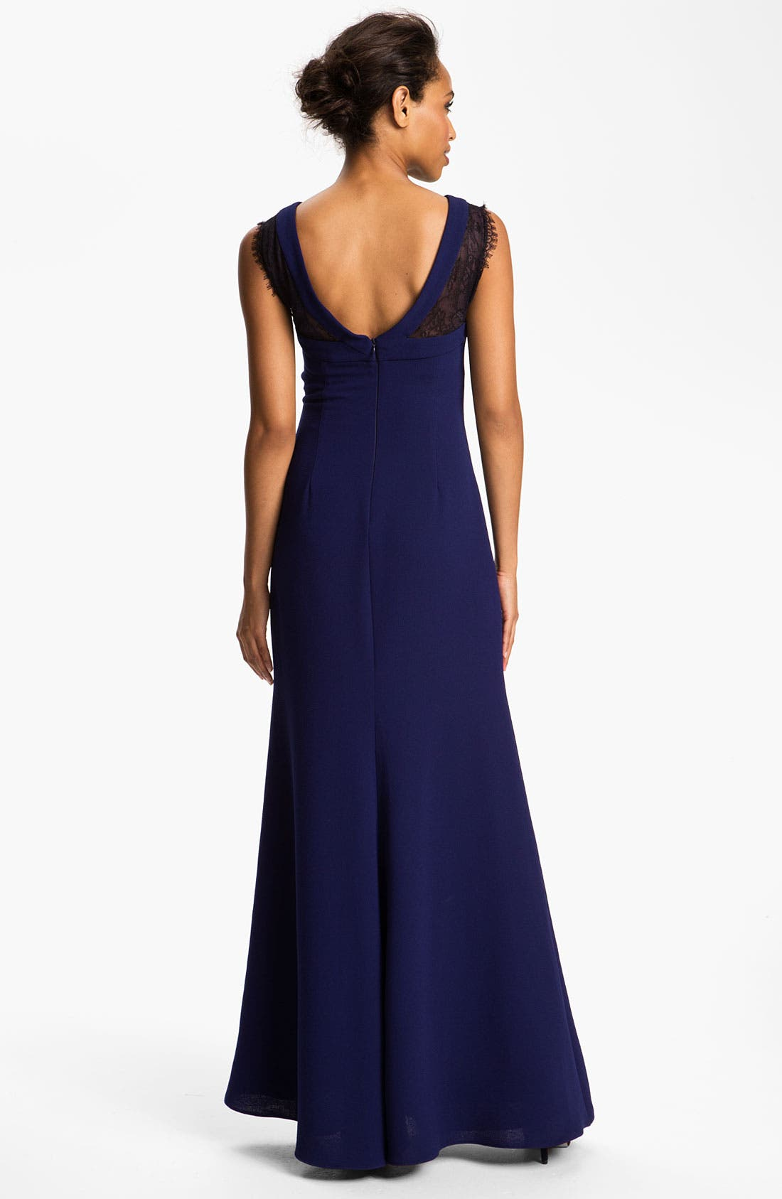 Alternate Image 2  - BCBGMAXAZRIA Scoop Back Lace Inset Crepe Gown