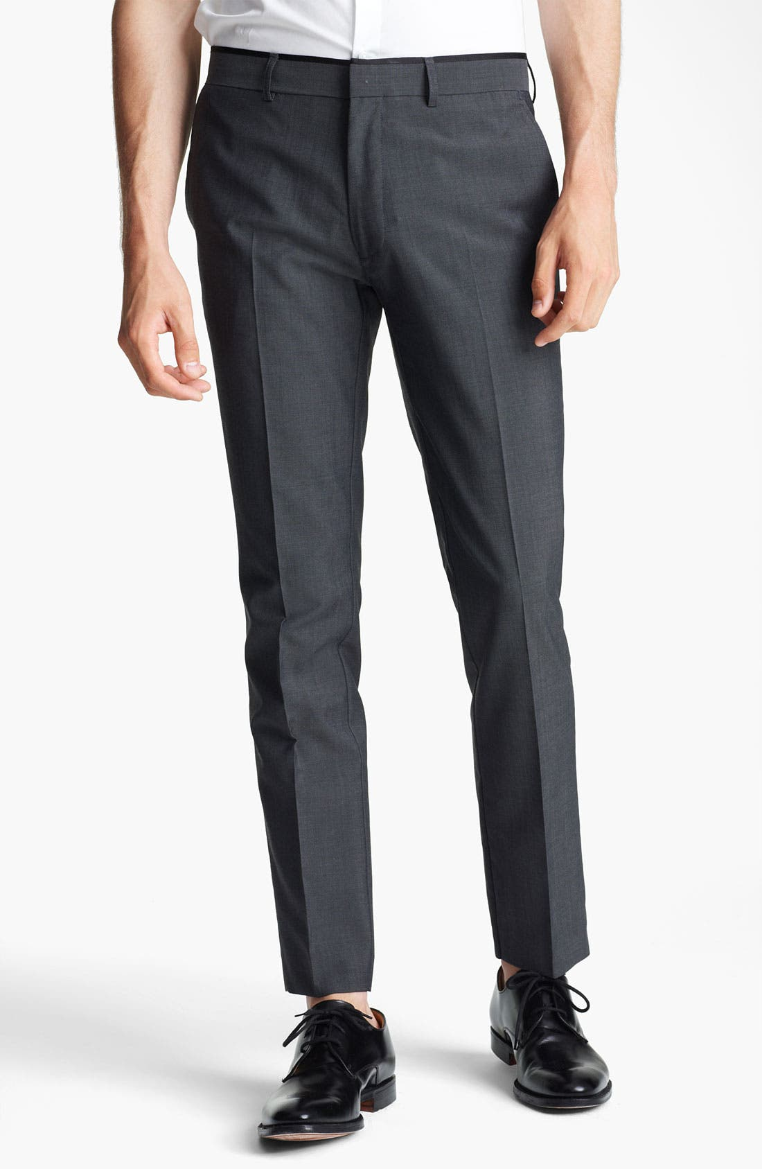 Alternate Image 1 Selected - Topman 'Novak' Skinny Fit Flat Front Trousers