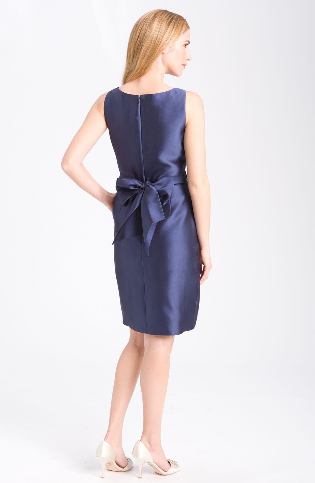 Alternate Image 2  - Alex Evenings Embellished Satin Sheath Dress (Petite)