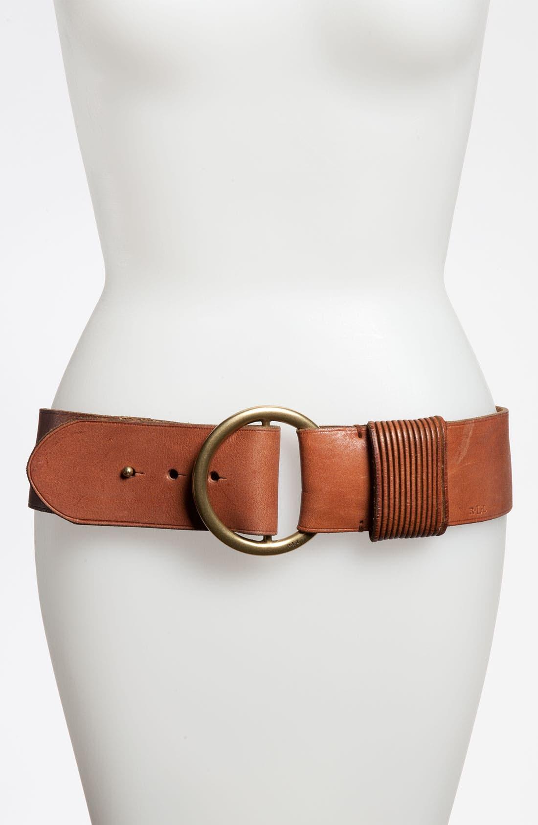 Alternate Image 1 Selected - Lauren Ralph Lauren Slit Keeper Leather Belt