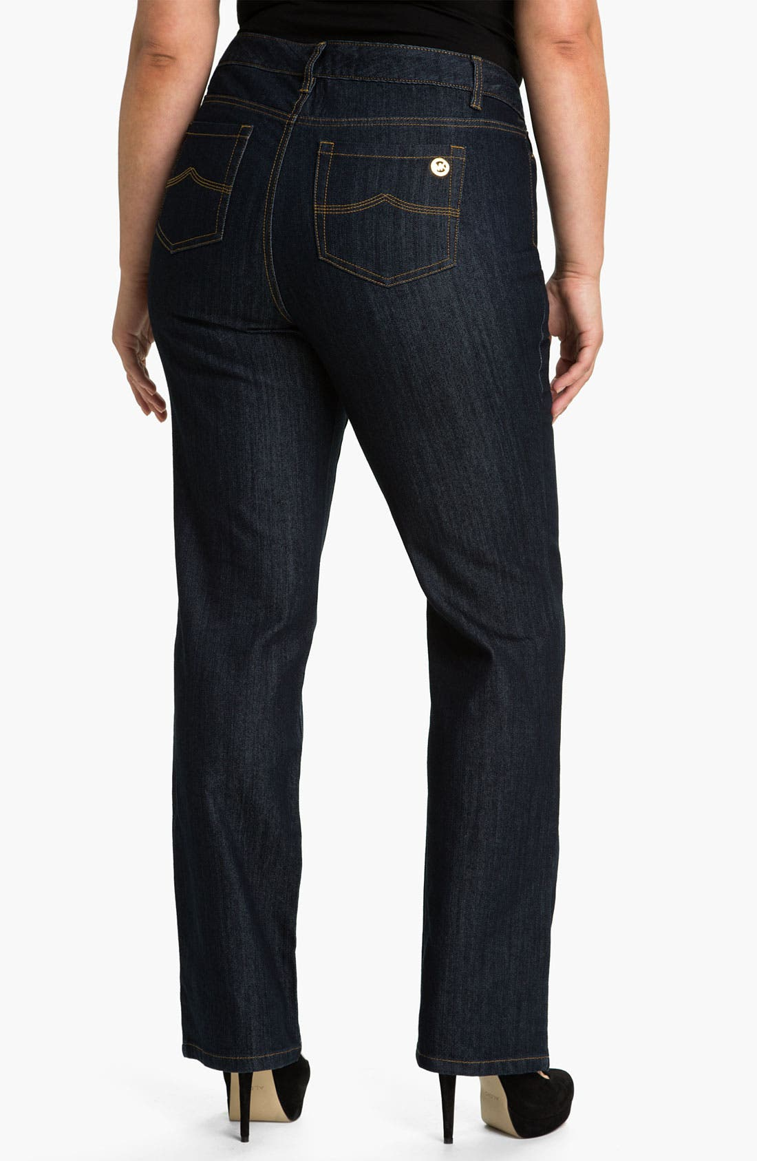 Alternate Image 2  - MICHAEL Michael Kors Dark Wash Skinny Jeans (Plus)