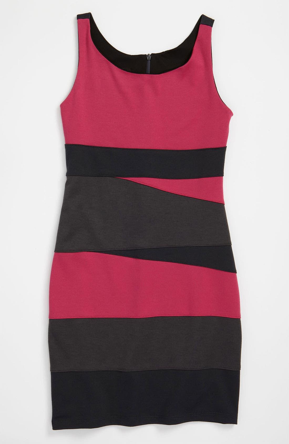 Alternate Image 1 Selected - Un Deux Trois Colorblock Ponte Knit Dress (Big Girls)