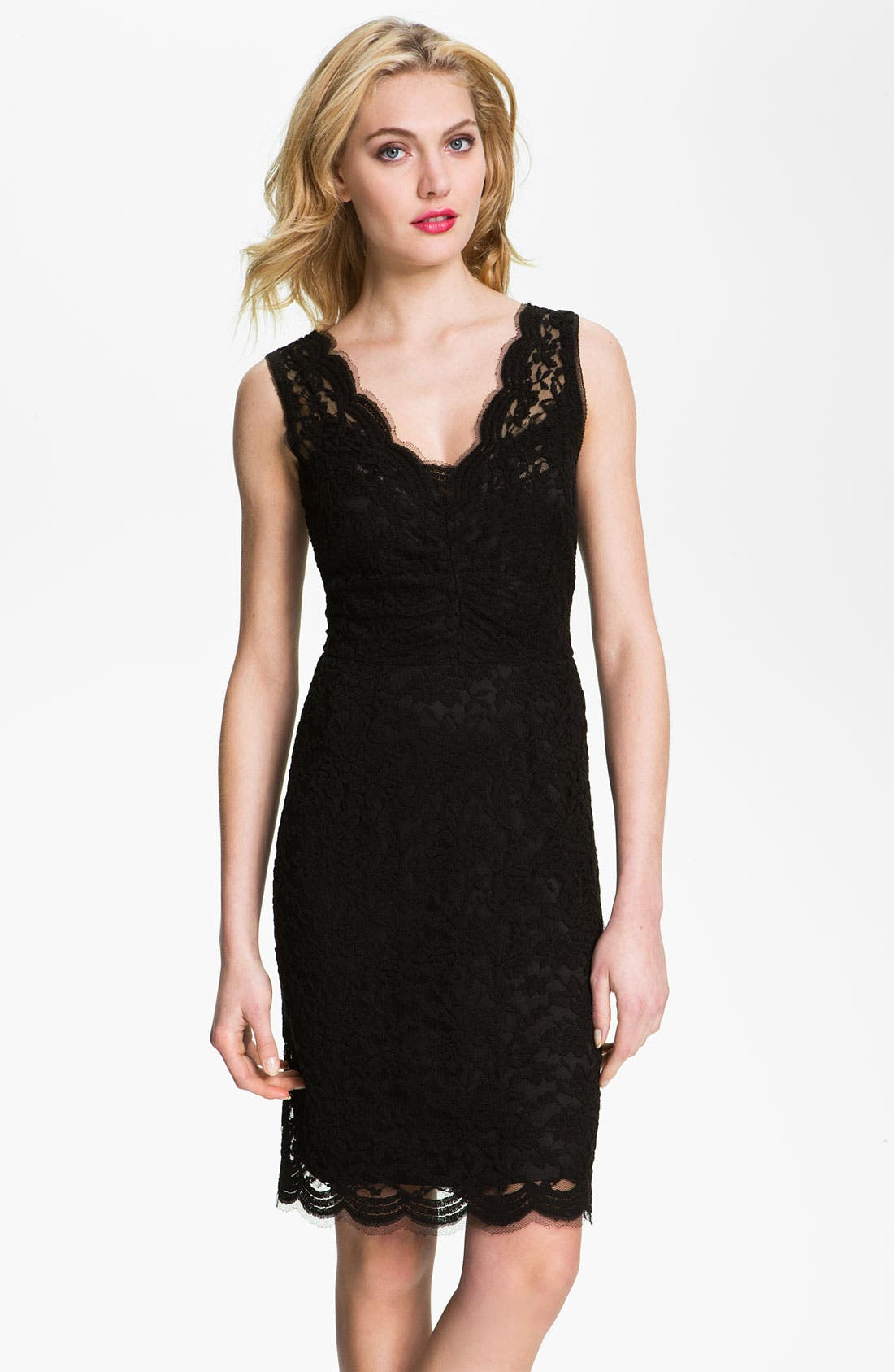 Alternate Image 1 Selected - Calvin Klein V-Neck Lace Sheath Dress