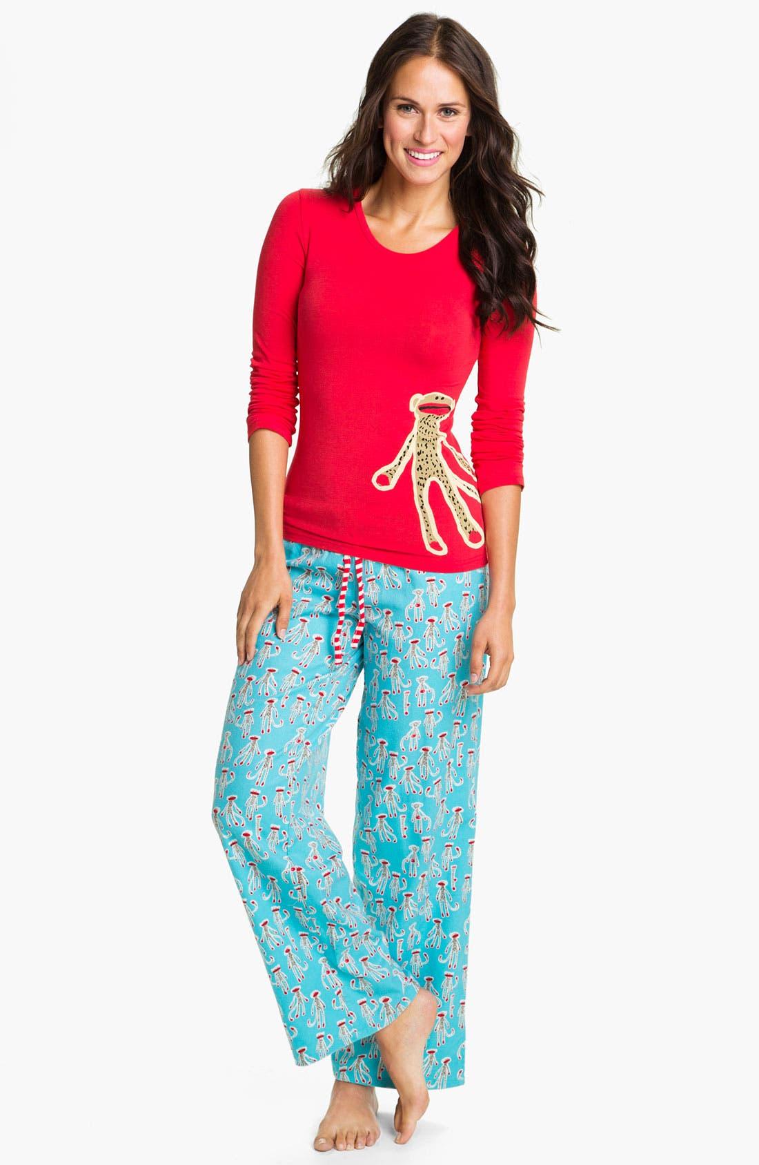 Alternate Image 1 Selected - Munki Munki Knit & Flannel Pajamas
