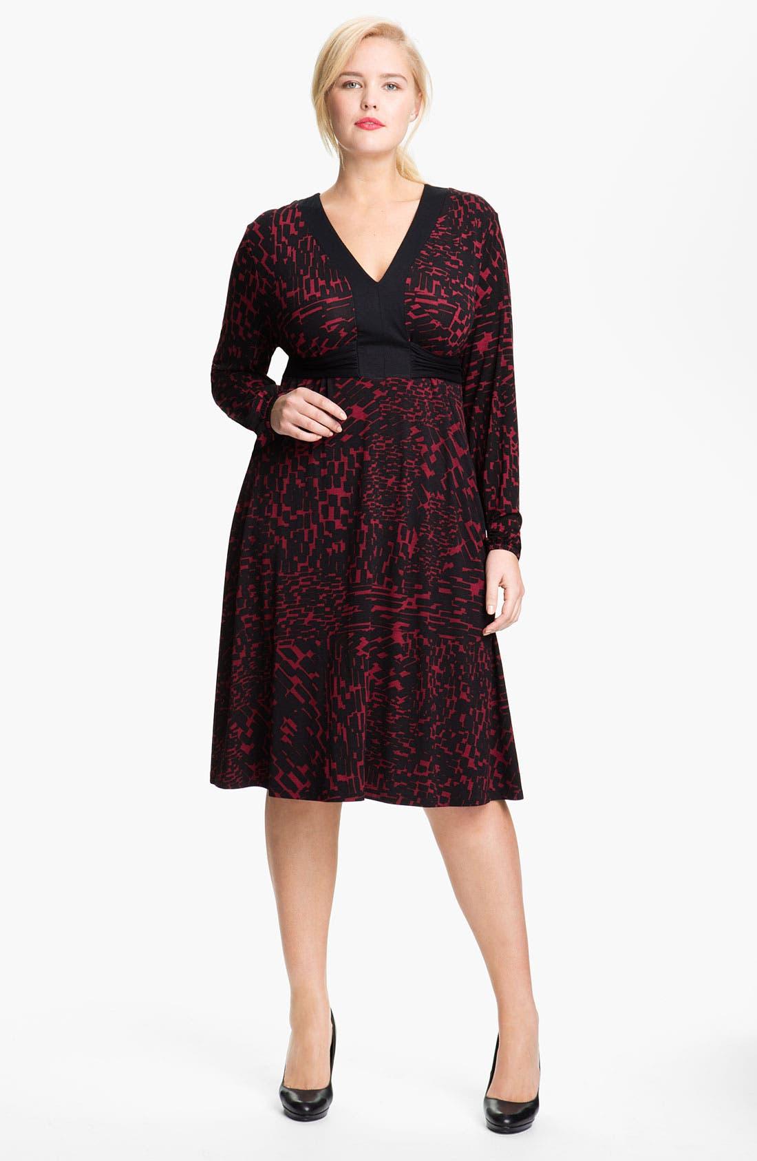 Alternate Image 1 Selected - Three Dots 'Boheme' V Neck Knit Dress (Plus)