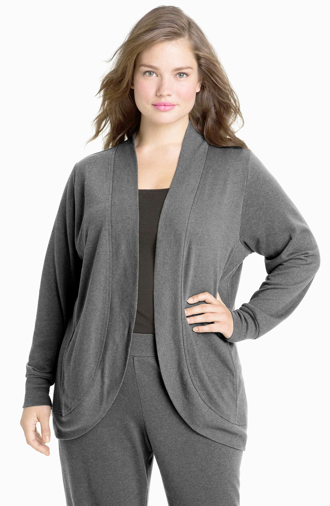 Main Image - Sejour Weekend Open Front French Terry Cardigan (Plus)