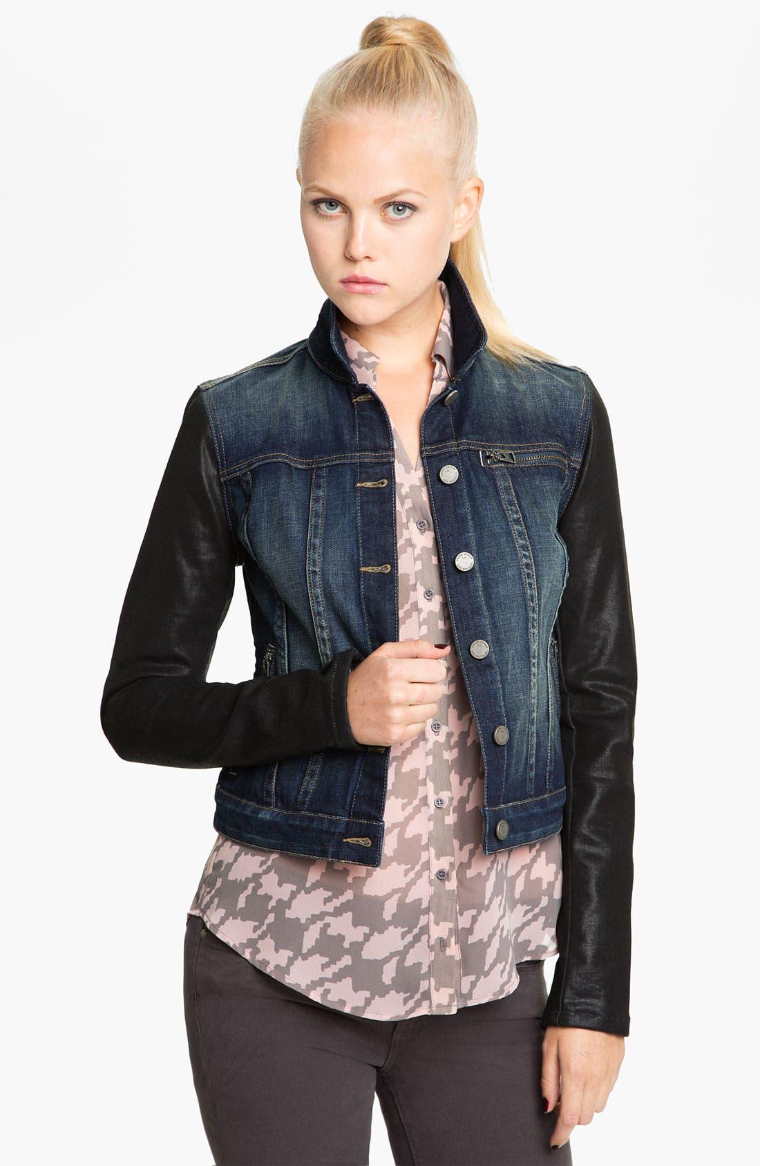 Alternate Image 1 Selected - Paige Denim Coated Sleeve Denim Jacket (Owen)