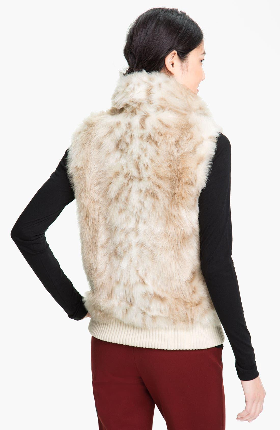 Alternate Image 2  - Ellen Tracy Faux Snow Leopard Vest