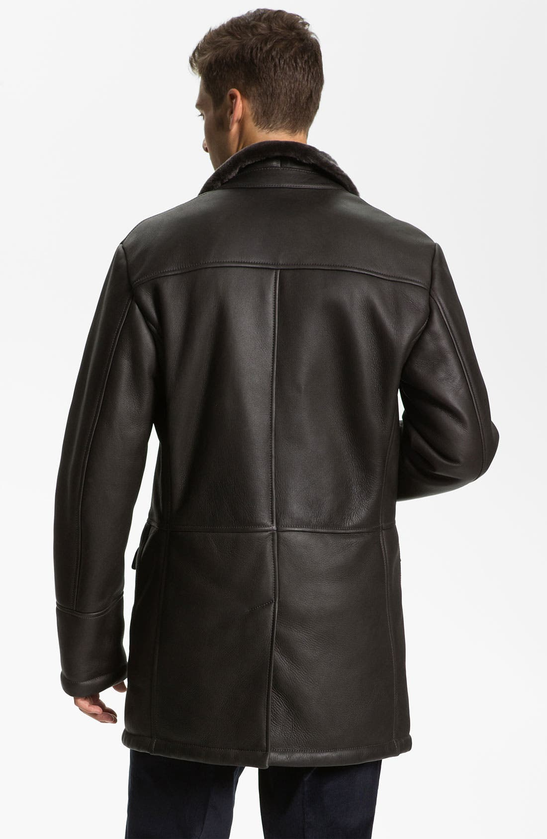 Alternate Image 2  - Canali Shearling-Lined Leather Coat