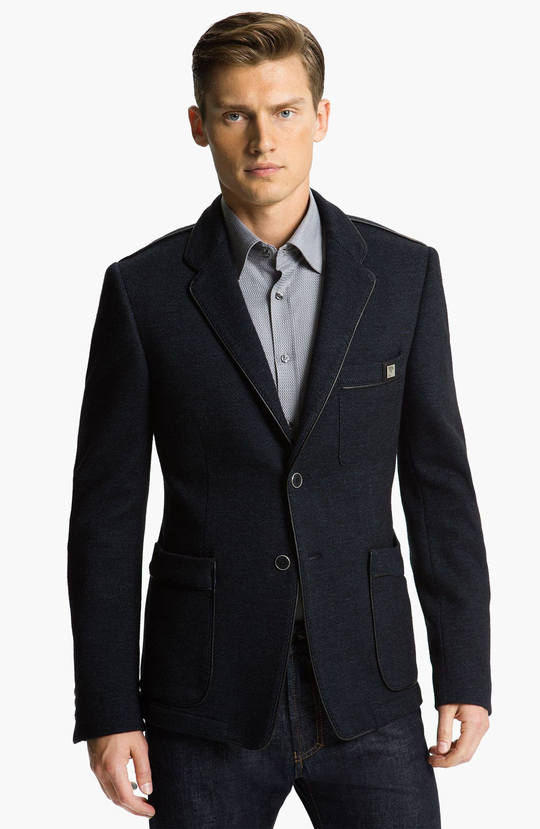 Main Image - Versace Trim Fit Leather Trim Blazer