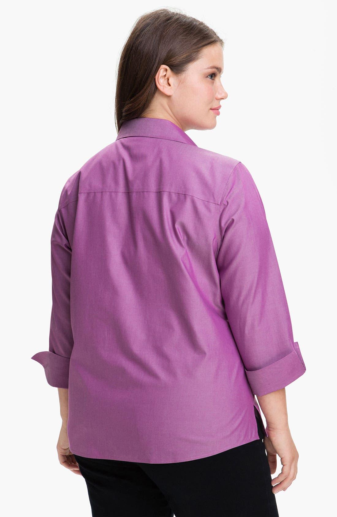 Alternate Image 2  - Foxcroft Wrinkle Free Shaped Shirt (Plus Size)