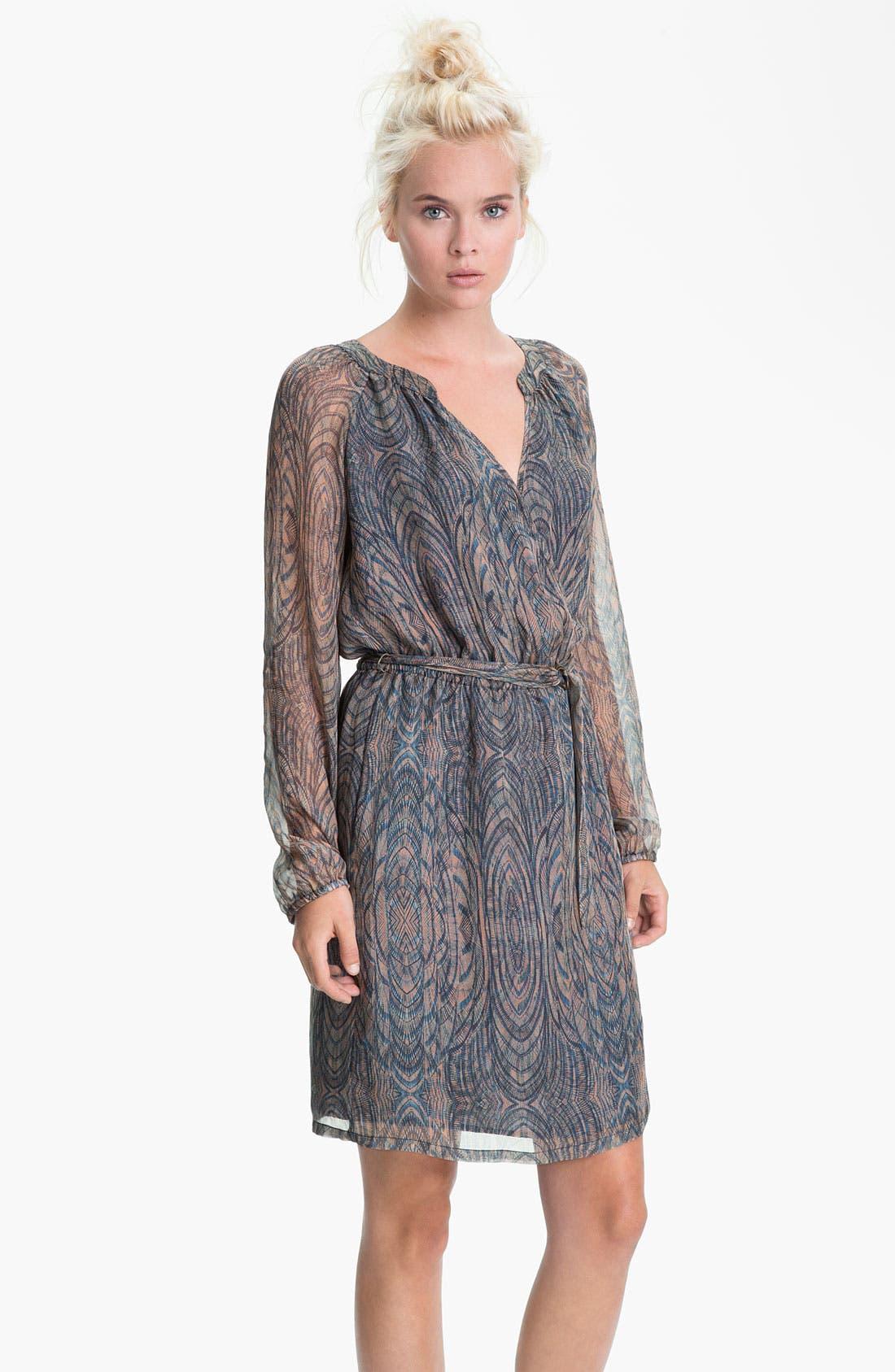 Main Image - Presley Skye Printed Blouson Sleeve Silk Dress
