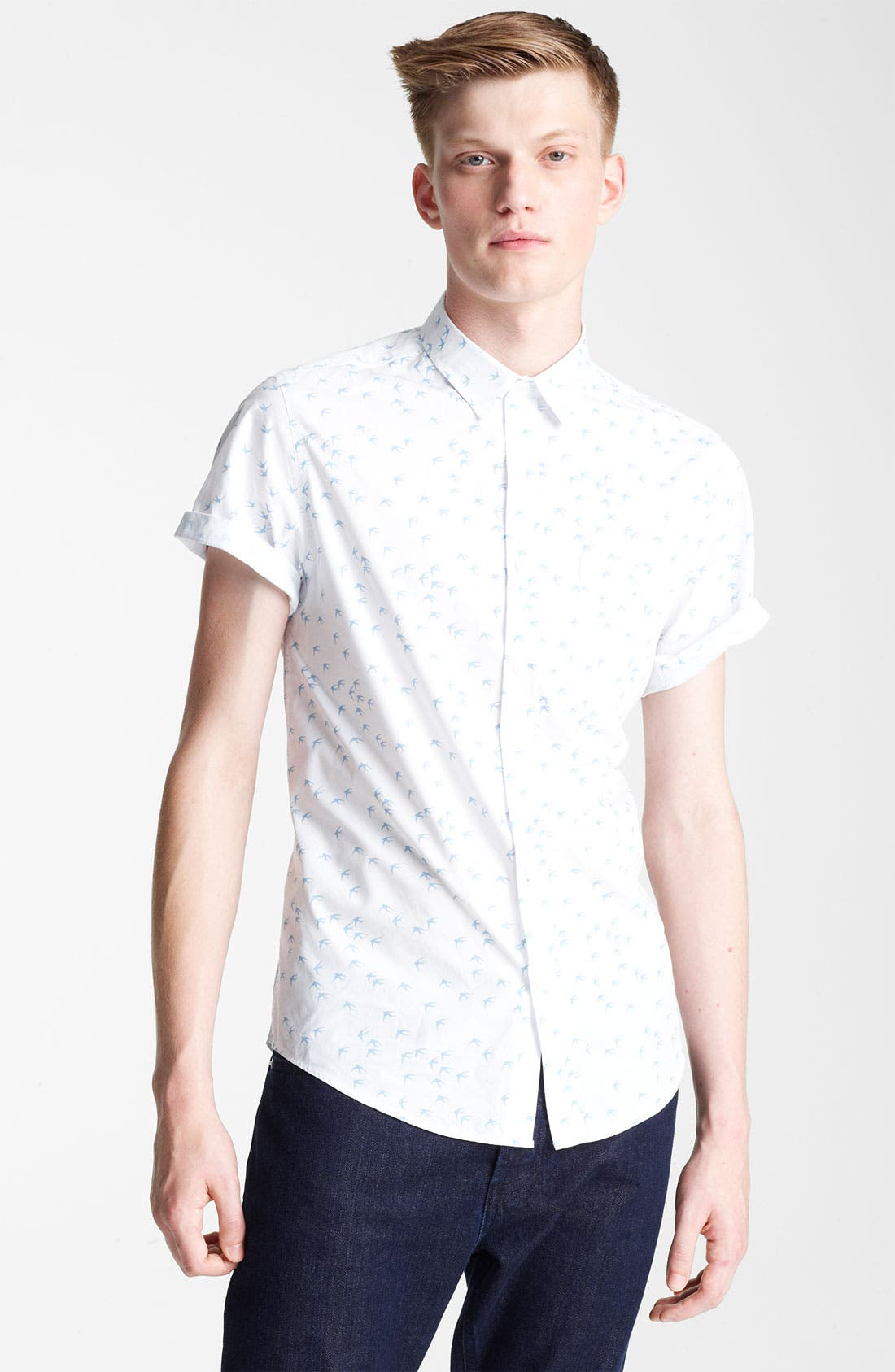 Main Image - Topman 'High Roller' Swallow Pattern Woven Shirt