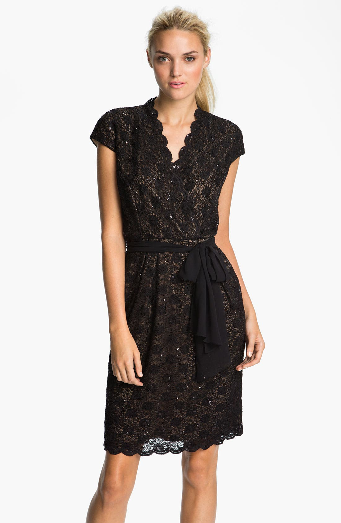 Alternate Image 1 Selected - Alex Evenings Scalloped Lace Surplice Dress