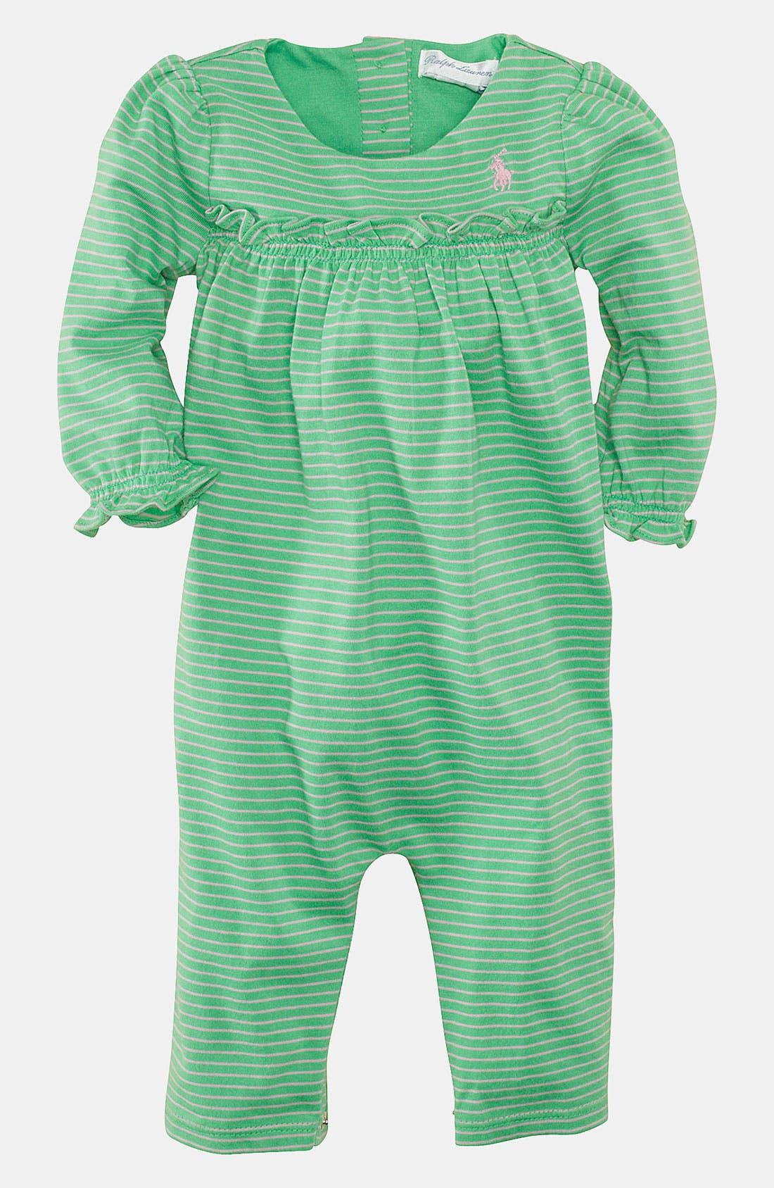 Main Image - Ralph Lauren Stripe Coveralls (Infant)