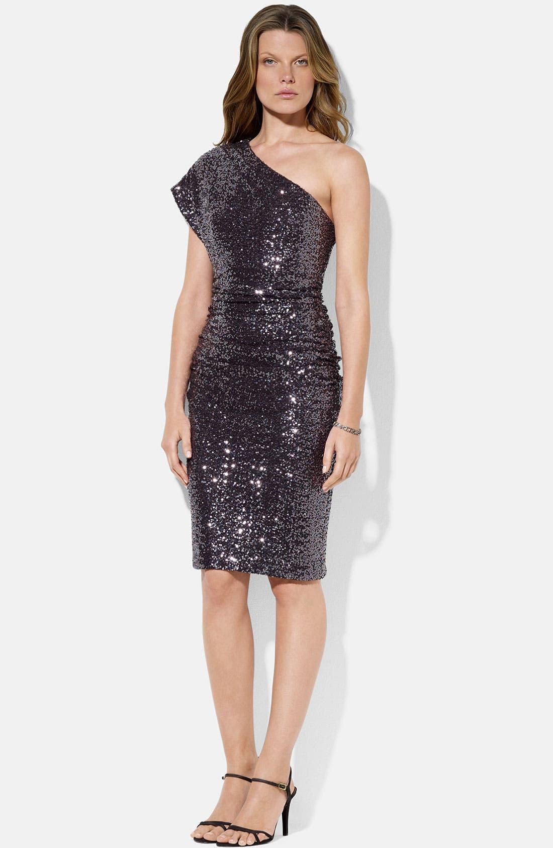 Main Image - Lauren Ralph Lauren One Shoulder Jersey Gown