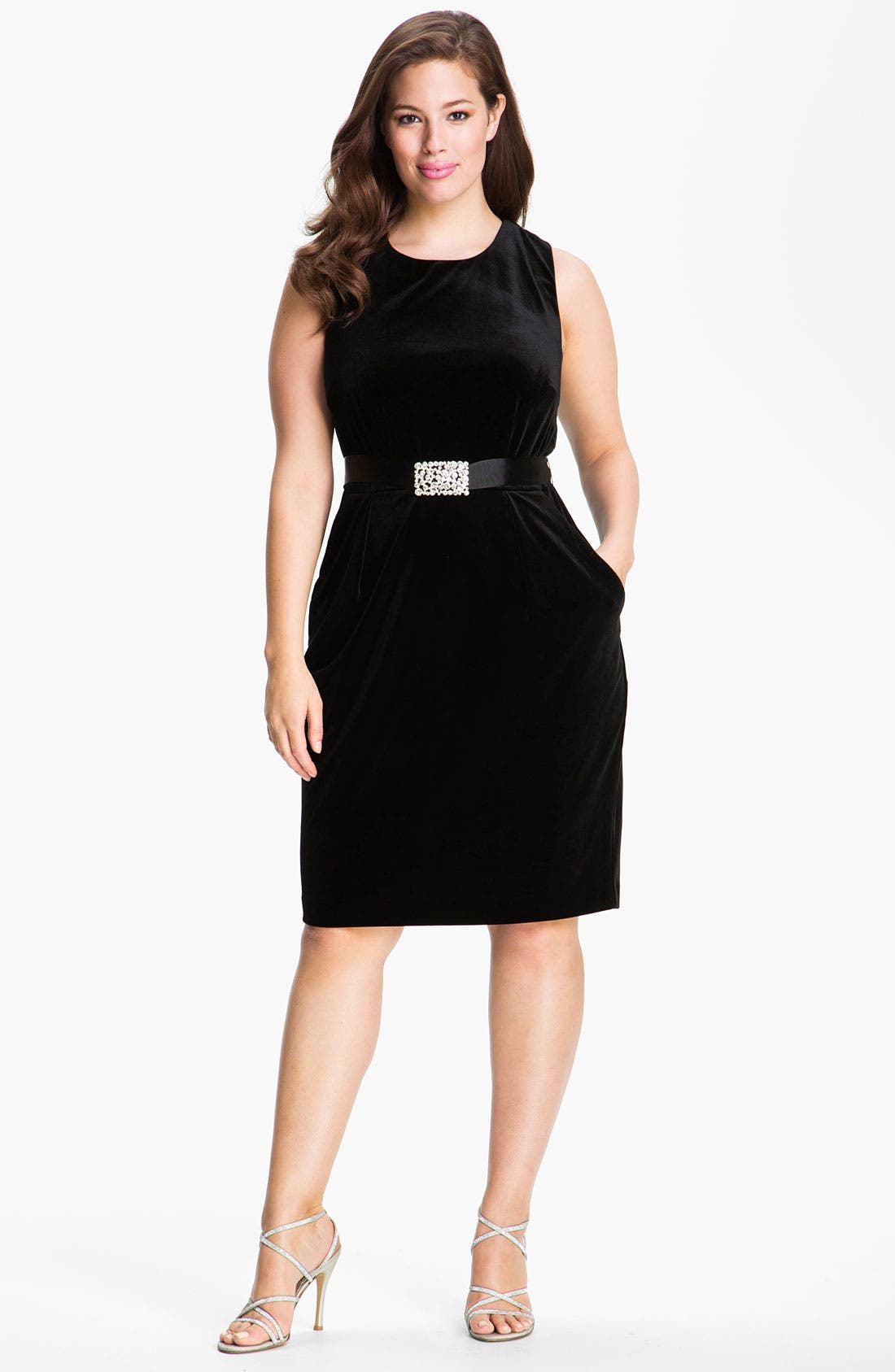 Main Image - Alex Evenings Belted Velour Sheath Dress (Plus)