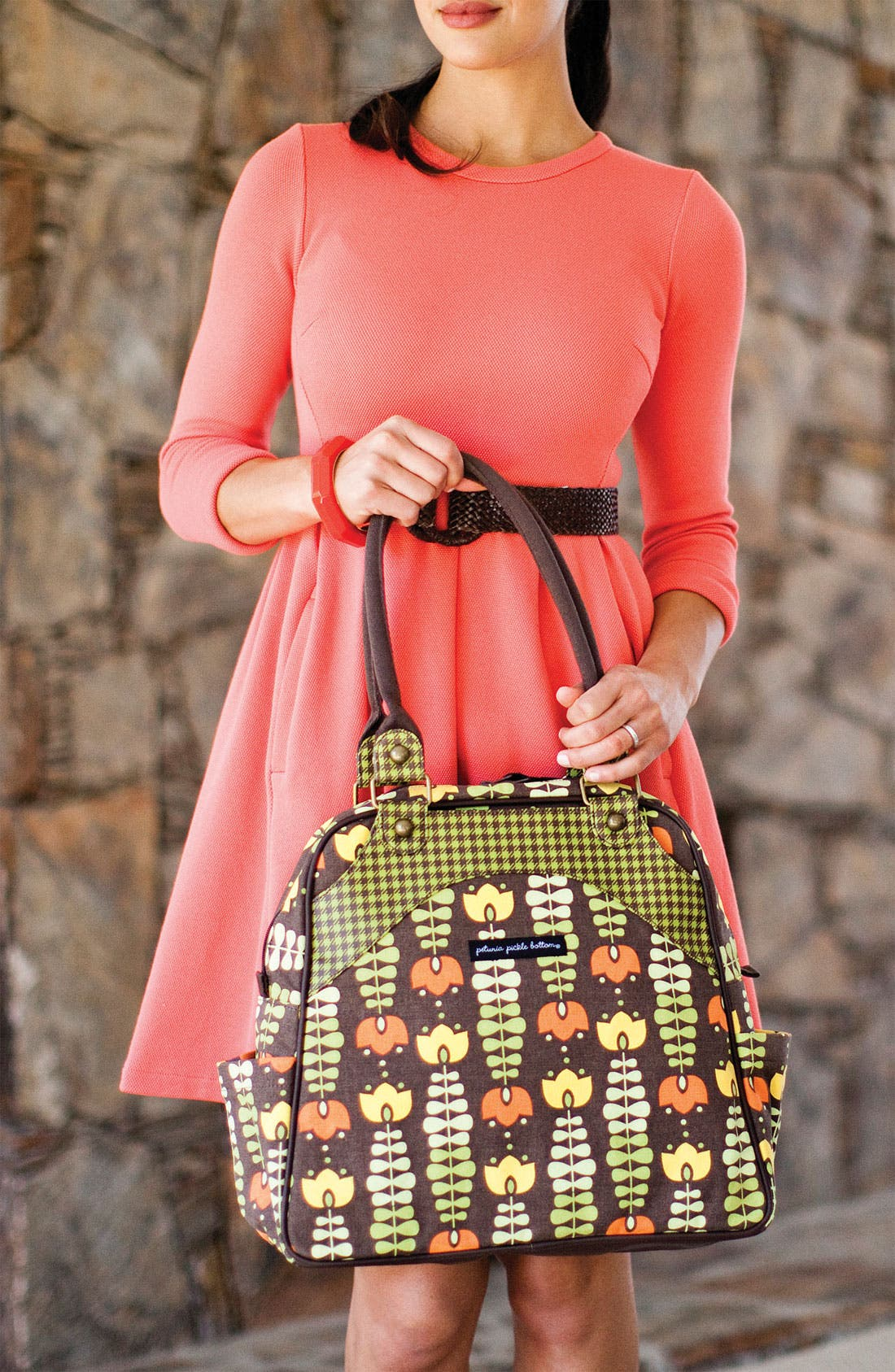Alternate Image 2  - Petunia Pickle Bottom 'Glazed Sashay' Organic Cotton Convertible Diaper Bag/Satchel