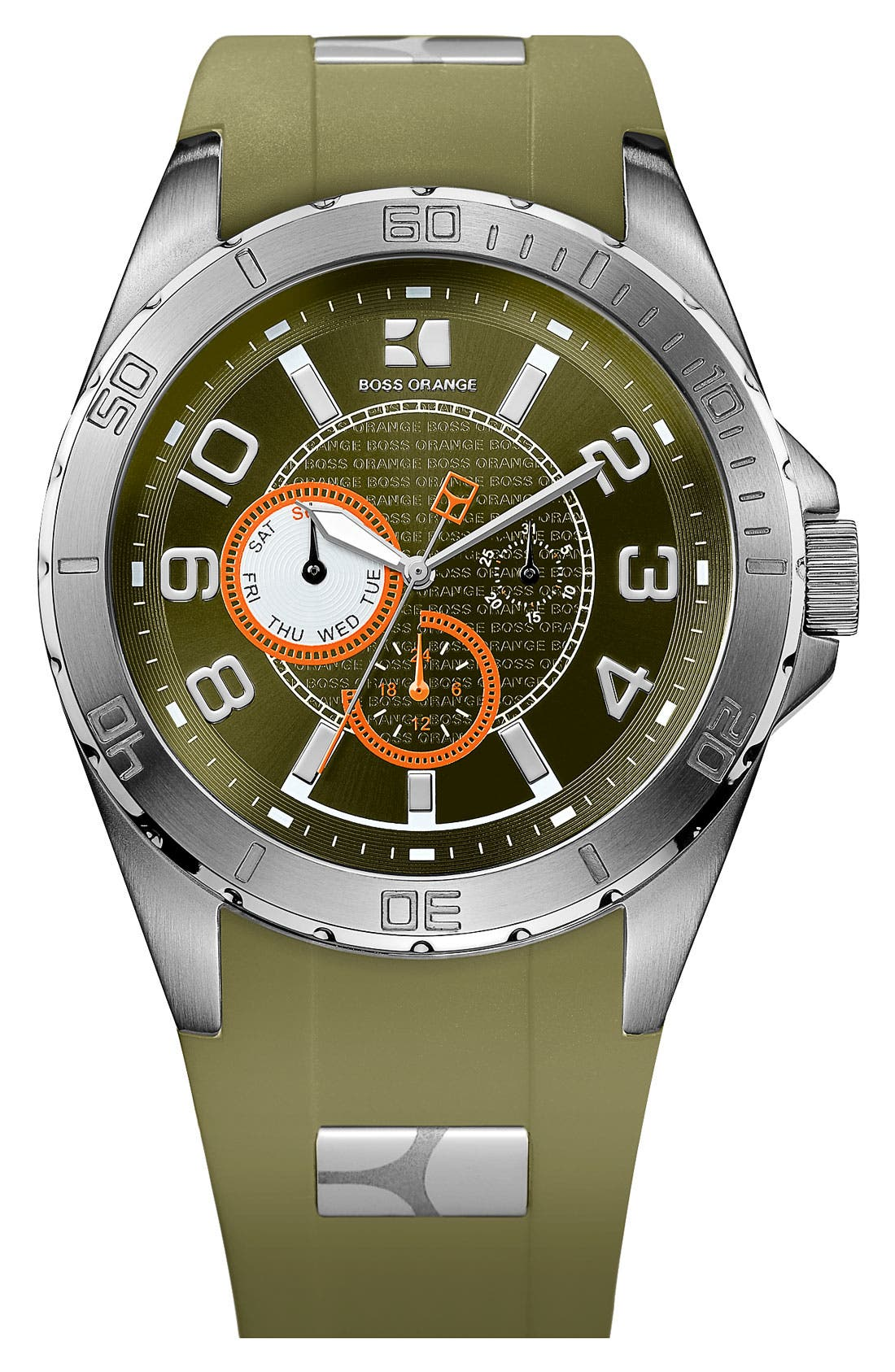 Alternate Image 1 Selected - BOSS Orange Round Silicone Strap Watch
