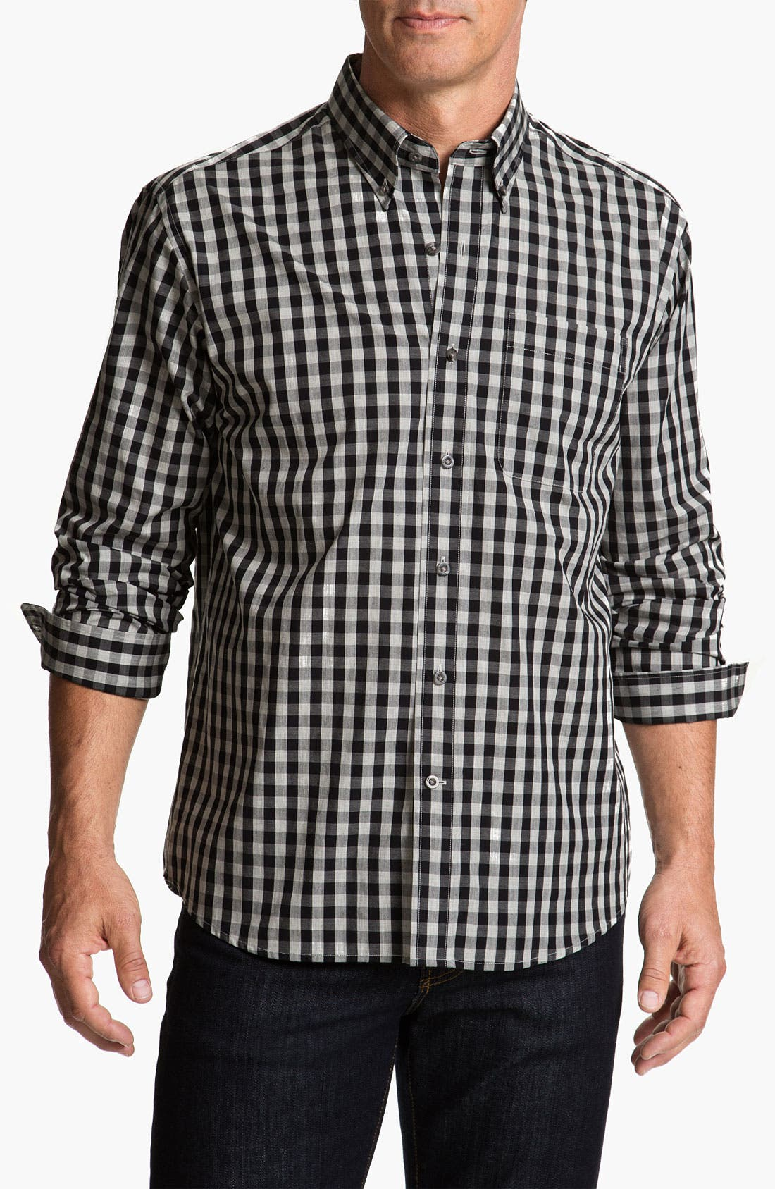 Alternate Image 1 Selected - Cutter & Buck 'Tusk' Check Sport Shirt (Big & Tall)