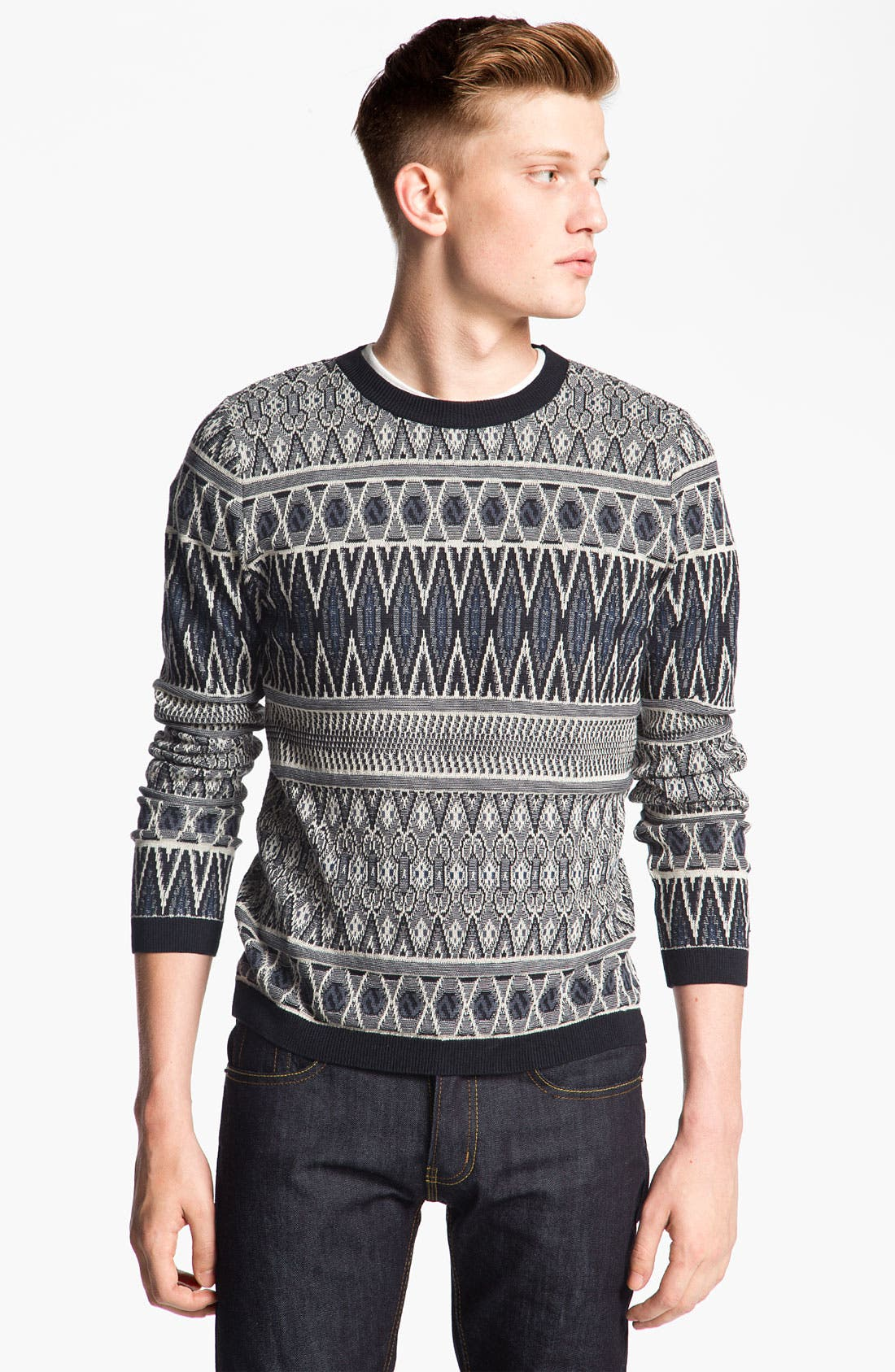 Main Image - Topman Tapestry Print Knit Crewneck Sweater