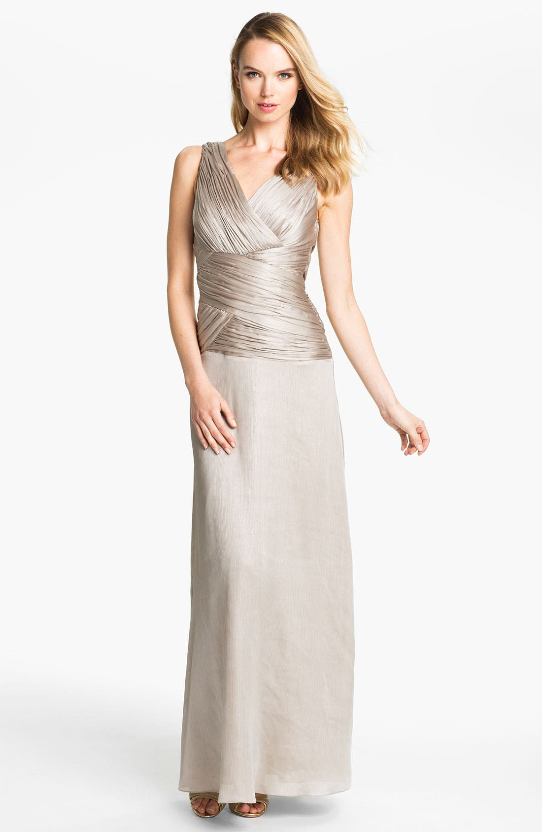 Alternate Image 1 Selected - Calvin Klein Ruched Bodice Textured Column Gown