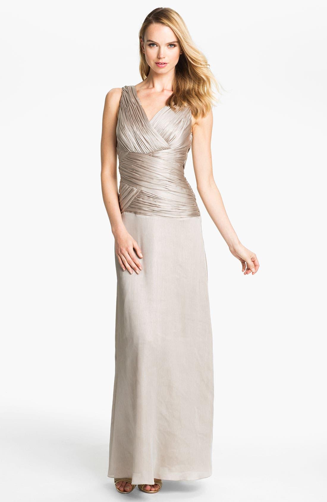 Main Image - Calvin Klein Ruched Bodice Textured Column Gown