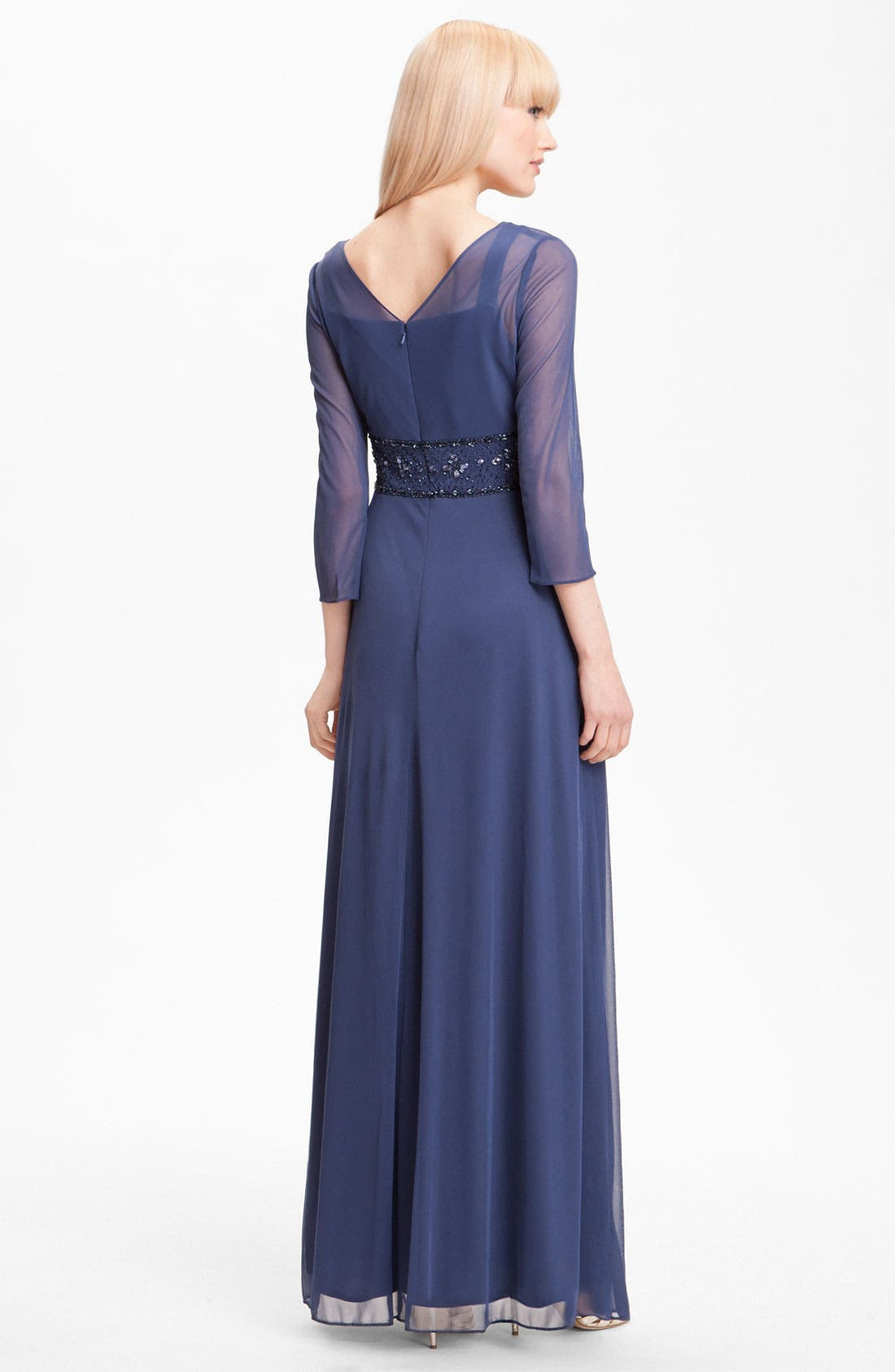 Alternate Image 2  - Alex Evenings Long Sleeve Bead Waist Mesh Gown (Petite)