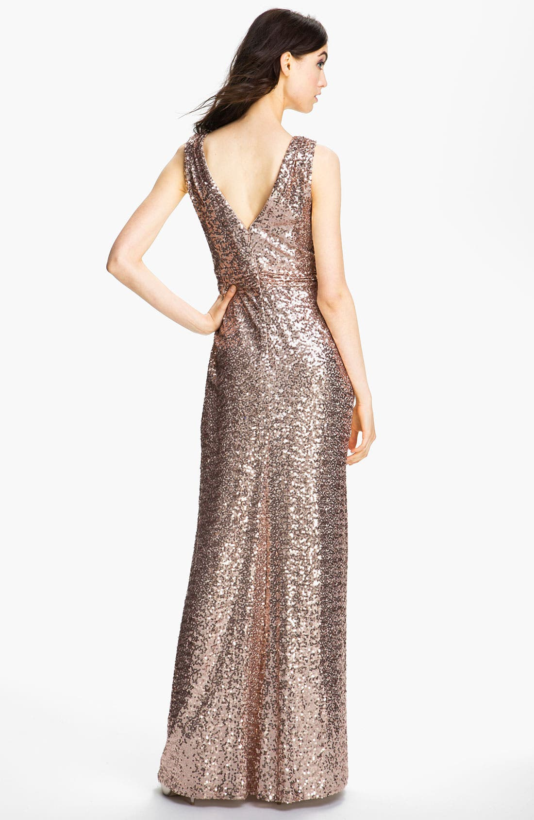 Alternate Image 2  - Badgley Mischka Double V-Neck Sequin Gown