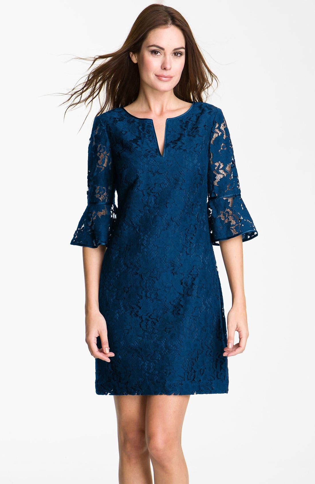Main Image - Adrianna Papell Ruffle Sleeve Lace Dress