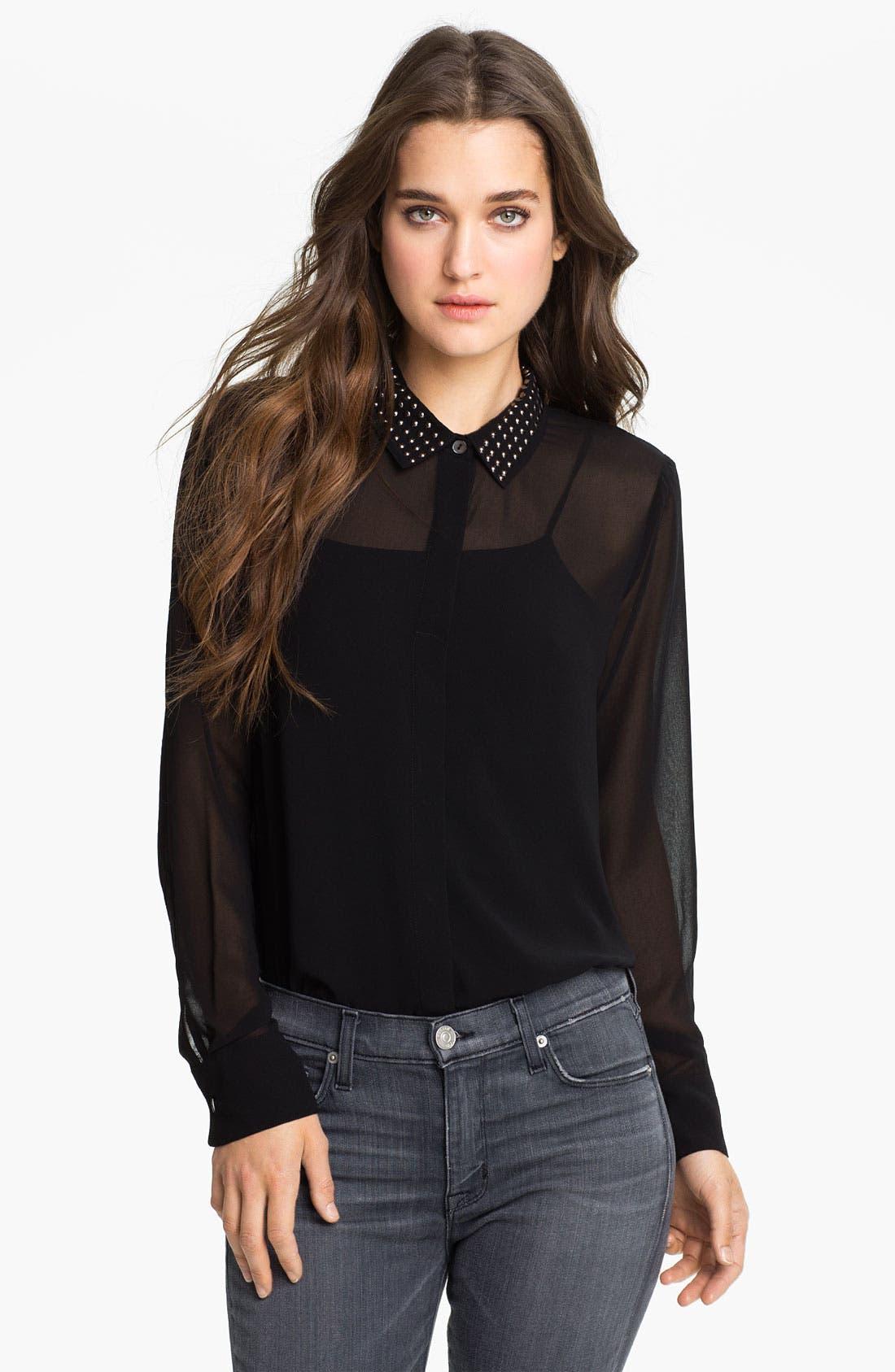 Alternate Image 1 Selected - Velvet by Graham & Spencer Stud Collar Sheer Chiffon Shirt