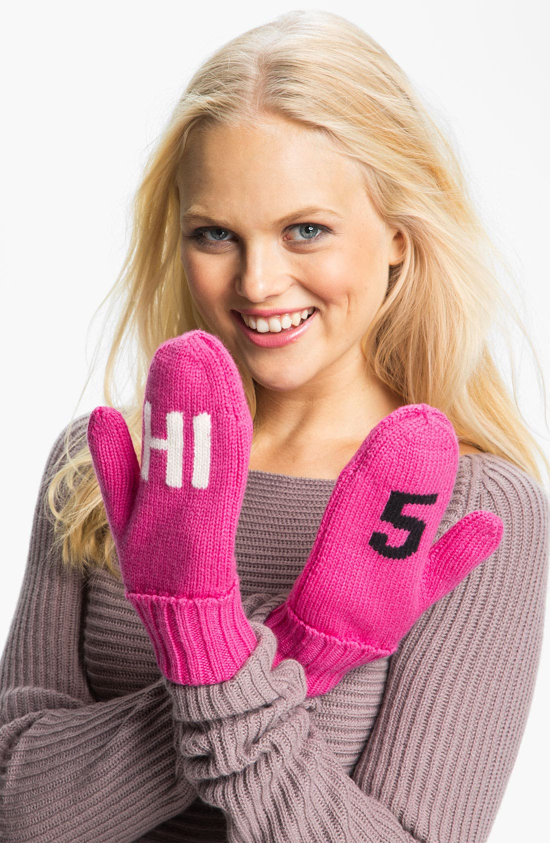 Alternate Image 1 Selected - kate spade new york 'big apple - hi 5' wool mittens