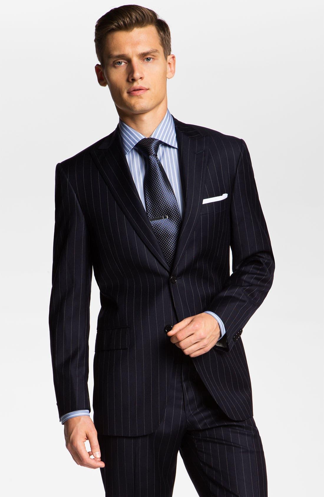 Alternate Image 1 Selected - Hart Schaffner Marx Stripe Wool Suit