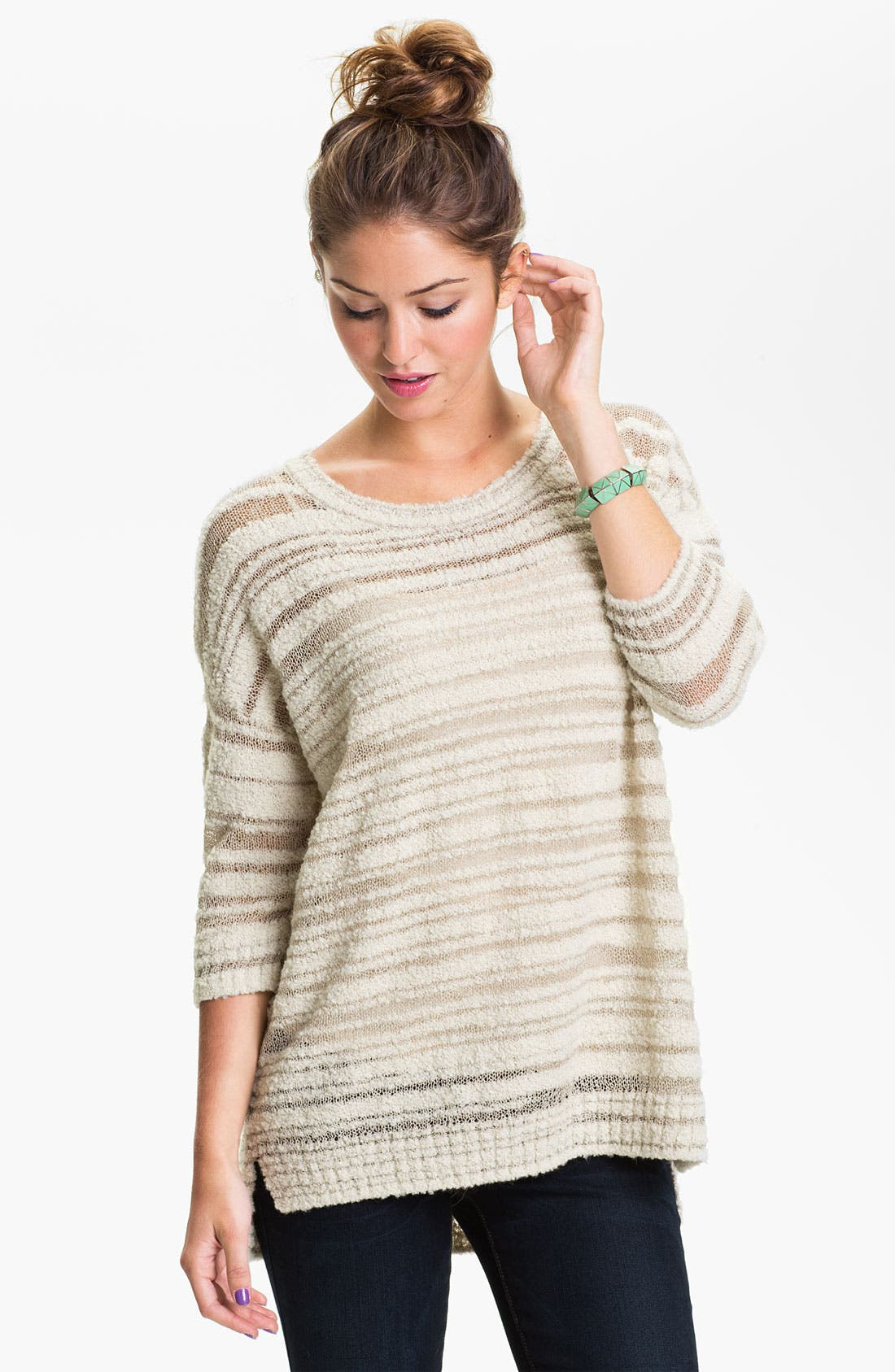 Alternate Image 1 Selected - Rubbish® Sheer Stripe Sweater (Juniors)