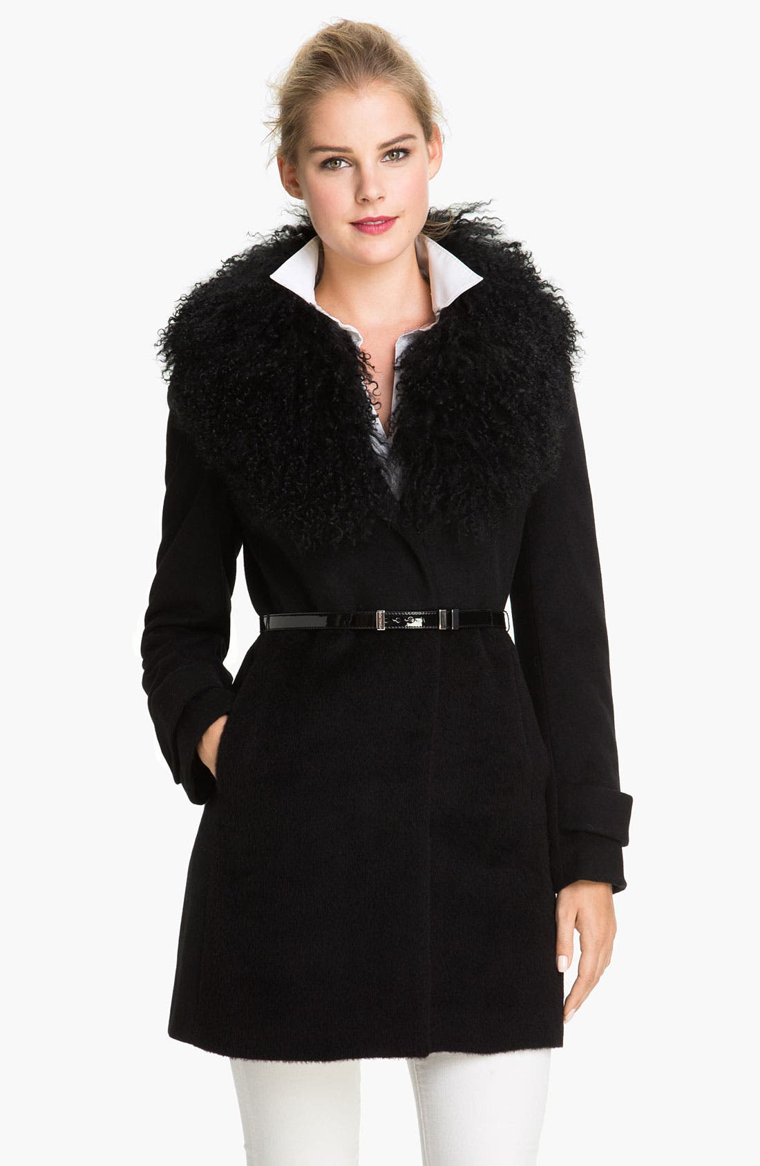 Main Image - MICHAEL Michael Kors Genuine Lamb Fur Collar Coat
